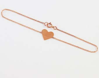 Solid 14k Rose Gold Heart Bracelet-