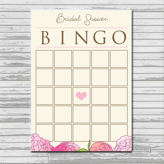 BRIDAL SHOWER BINGO card - instant printable download - blank, flower ...