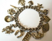"Vintage Charm Bracelet Loaded 13 charms silver gold plated chain 7"" Heavy VG - BrightgemsTreasures"