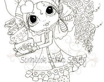 INSTANT DOWNLOAD  Digital Digi Stamps Big Eye Big Head Dolls Digi Tea Time Tippi By Sherri Baldy