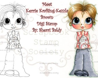INSTANT DOWNLOAD Digital Digi Stamps Big Eye Big Head Dolls Digi   Besties Kerri  By Sherri Baldy
