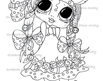 INSTANT DOWNLOAD  Digital Digi Stamps Big Eye Big Head Dolls Digi   Besties Sweet IMG63555   By Sherri Baldy