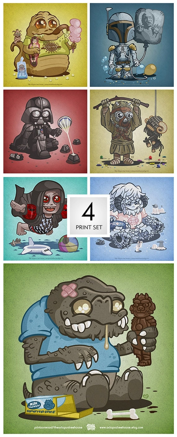 Set of Four: Choose any 4 of the Star Wars prints.