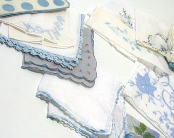 Vintage Set of 12 Shades of BLUE Hankie collection lot sold by dozen for tea party Napkins boy baby bridal shower party favors HAPPY TEARS