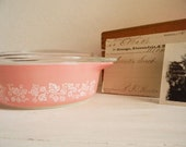 Sweet Vintage GOOSEBERRIES-Pink Pyrex with Lid-COTTAGE Farmhouse Shabby Chic Retro-Treasury List-COLLECTABLE - 1Pint