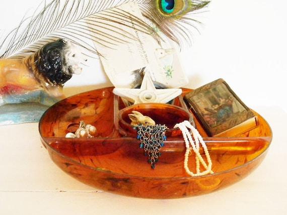 SALE -Tortoise Tray Organizer Vanity Dresser GLAMOUR  Rockabilly HOLLYWOOD Retro 40's-60's Caramel