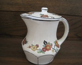 Vintage CC Thompson Pottery Co. Floral Pitcher with Lid