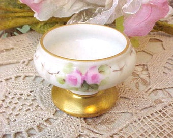 Beautiful Little Art Nouveau Era Hand Painted Salt Dish with Pink Roses and Metallic Gold Trim