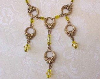 Lovely Vintage Brass Necklace with Rococo Designs and Citrine Dangles