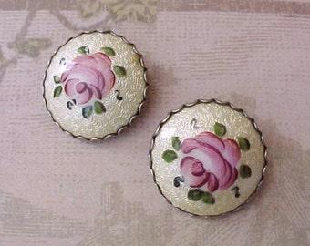 Lovely Pair of Vintage Earrings-Hand Painted Pink Roses on Pale Lemon Guilloche Enamel