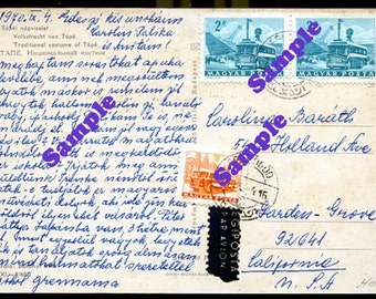 Instant Digital Download-1970 Hungarian Postcard back with text and stamps