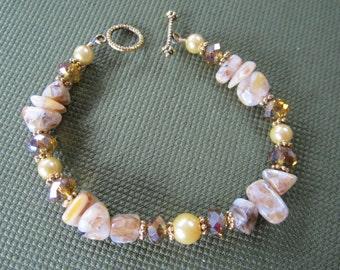 Tan and Gold Gemstone Bracelet