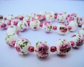 Necklace, Earrings, Jewelry Set, Floral, Pink, White, Green, For her, Preppy, Flowers, Pearls, Glass Beads