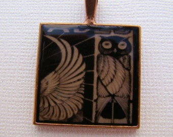 Resin Pendant, Owl, Black, Yellow, 1 inch, Square, Bird, Wing