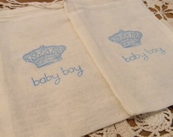 Set of 10 Hand stamped Baby Boy Crown Baby Shower Party Muslin Gift Favor Bags100% organic made in america