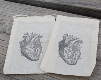 Set Of 10 Hand Stamped Anatomical Heart Organic Party Favor Muslin Bags