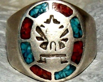 RARE ZUNI KNIFEWING Sterling Ring c1950 Size 8