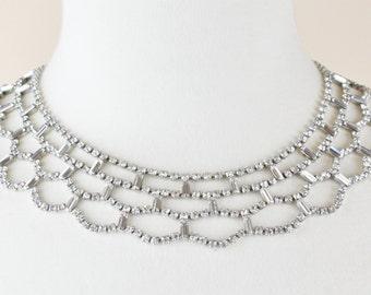 Wedding Vintage Bridal Clear Rhinestone Collar Necklace