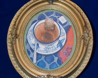 Hand Painted Tea Time Watercolor by Jan Dumas circa 1990-1993 in 100 year old vintage frame