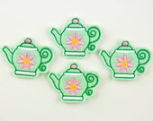 TEAPOT with Flower  - Embroidered Felt Embellishments / Appliques - Mint & Pink(Qnty of 4) SCF0230