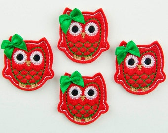 OWL - Embroidered Felt Embellishments / Appliques - Red, Green & White  (Qnty of 4) SCF6630