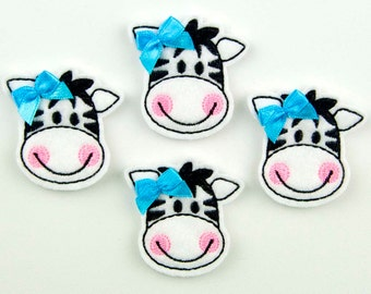 ZEBRA - Embroidered Felt Embellishments / Appliques - White/Black (Qnty of 4) SCF0250