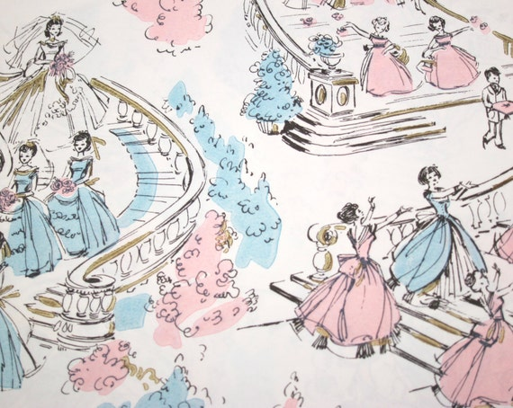Vintage Gift Wrap 1960s Wedding Wrapping Paper Pink Blue