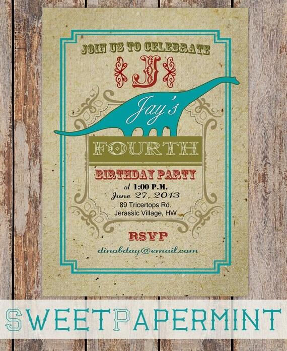 Dinosaur Birthday Party Invitation Card Vintage Aqua Green Blue Child's Boy Girl Printable Digital