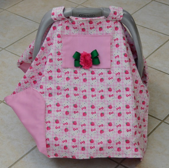 hello kitty baby car seat cover by debskidstuff on etsy. Black Bedroom Furniture Sets. Home Design Ideas