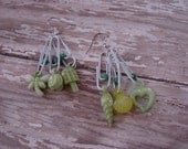 Pierced Earrings Green Gum Ball Charms and White Paper Clips