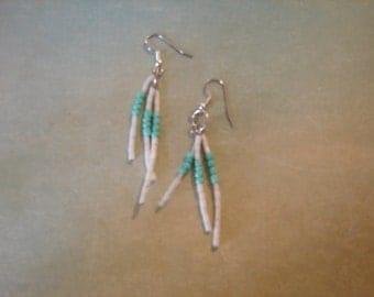 Pierced Earrings Aqua and White Beaded Fringe Spikes