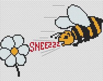Cross Stitch Kit - Sneezzz - Bee with Hayfever, Bee cross stitch