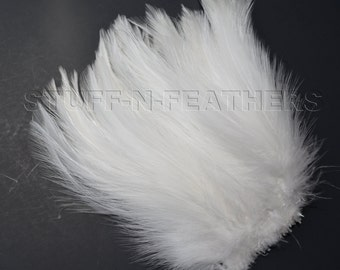 White / Off White rooster hackle feathers for millinery, bridal accessories, wedding, crafts and more / 4-6 in (10-15 cm) long / F130-4
