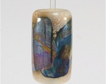Handmade Lampwork Glass Bead FireSong Creations SRA Ivory Brown Silver Blue Purple Metallic
