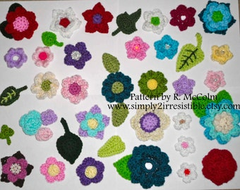 Flowers and Leaves Crochet Pattern - Instant Download - Number 47 - US and UK terms available - 16 Flower and 6 Leaf Embellishment Applique