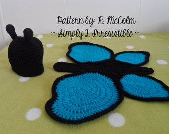 Butterfly Hat and Cover / Cape Set - Crochet Pattern 106 - Newborn to 6 Months Sizes - INSTANT DOWNLOAD - Us and Uk Terms