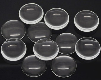 FREE SHIPPING within USA 80 pcs Clear Transparent Glass Cabochons - 20mm