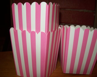 Mini Candy Pink  Striped Popcorn .Boxes Movie Night, Party Set of 12
