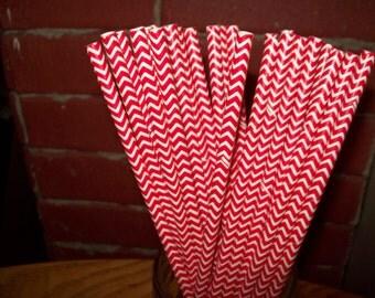 Chevron Red & White Striped Paper Drinking Straws  25