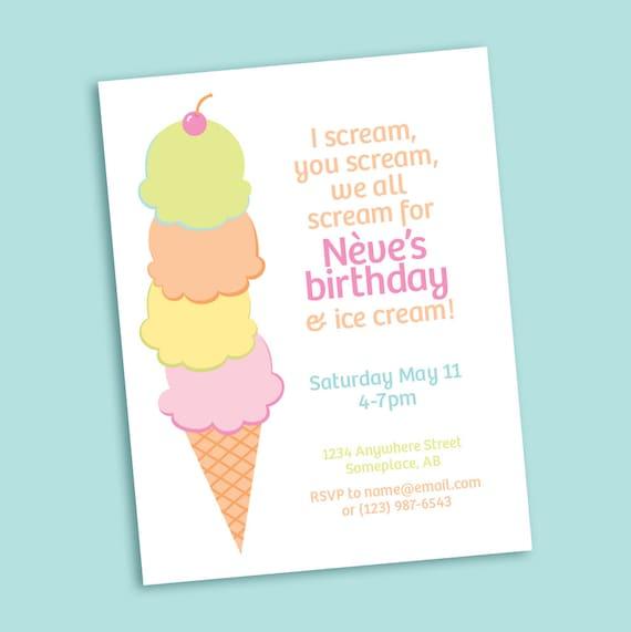 ice cream cone printable party invitation for birthday baby, Party invitations