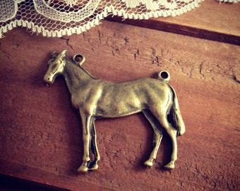 Large Horse Connector Charm Antique Bronze Vintage Style Pendant Charm Jewelry Supplies (BD056)