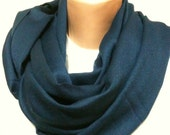 Pashmina Infinity Scarf Navy Blue - Unisex, lightweight, very soft- Loop Scarf, Tube Scarf, Circle Scarf