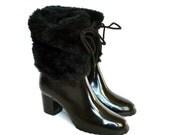 Vintage Black Fur Rain Rubber Heels Boots 6