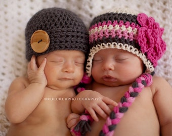 twin hats, newborn twin hats, boy and girl twin hats, baby girl hat, baby boy hat
