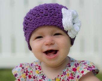 girls hat, baby girl hat, baby hat, crochet baby hat, kids hat, crochet kids hat, newborn girl hat, hat with flower, purple hat