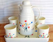 Pitcher Serving Set with 4 Cups and Tray Floral Design