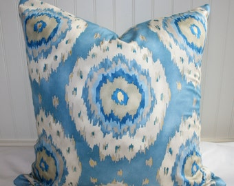 Blue, White and Taupe Suzani Pillow Cover / 22 X 22/ Richloom designer fabric