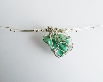 Sterling Silver Wire Wrapped Pendant, Emerald ore