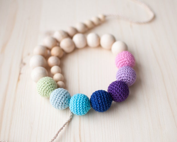 Nursing necklace / Teething necklace / Crochet nursing necklace -Gradient Pink, Purple, Blue and Mint