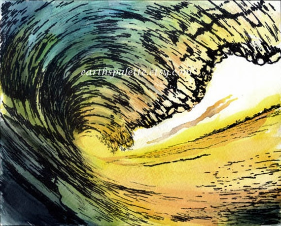 Ocean Wave, 8x10 ink and watercolor painting, seascape,seashore, art earthspalette